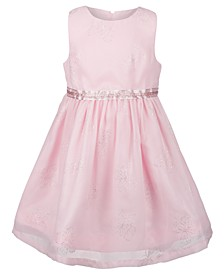 Toddler Girls Pink Chiffon Sleeveless Party Dress in Glitter Print