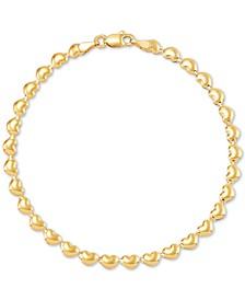 Polished Stampato Heart Link Bracelet in 10k Gold