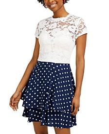 Juniors' Lace & Polka Dot Dress