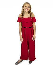 Ruffle Front Jumpsuit with Belt