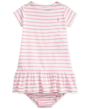 Polo Ralph Lauren Kids' Baby Girls Striped Jersey Dress & Bloomer In Lauren Pink Multi