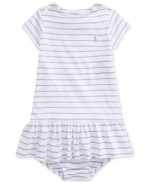Polo Ralph Lauren Kids' Baby Girls Striped Jersey Dress & Bloomer In Powder Purple Multi