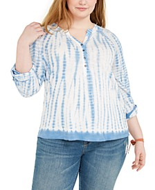 Plus Size Tie-Dye Henley, Created for Macy's