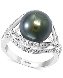 EFFY® Cultured Black Tahitian Pearl (11mm) & Diamond (3/8 ct. t.w.) Statement Ring in 14k White Gold