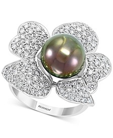 EFFY® Cultured Black Tahitian Pearl (10mm) & Diamond (1 ct. t.w.) Flower Statement Ring in 14k White Gold