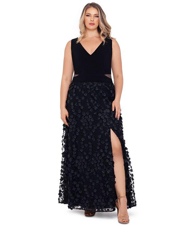 XSCAPE Plus Size 3D-Flower-Skirt Gown