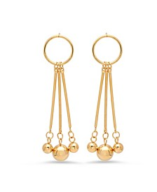 Ladies 18K Micron Gold Plated Stainless Steel Circle Drop Earrings
