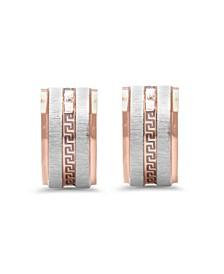 Stainless Steel 2 Tone Greek Key Design Huggie Earrings