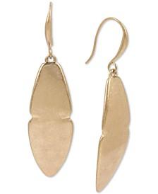 Gold-Tone Sculptural Leaf Drop Earrings