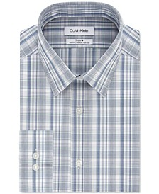 Calvin Klein Men's Steel+ Slim-Fit Non-Iron Performance Stretch Green Multi-Check Dress Shirt