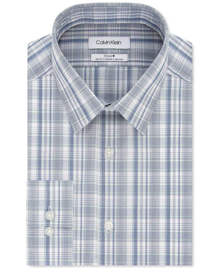 Calvin Klein - Men's Steel+ Slim-Fit Non-Iron Performance Stretch Green Multi-Check Dress Shirt