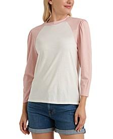 Cotton Puff-Sleeve Baseball T-Shirt