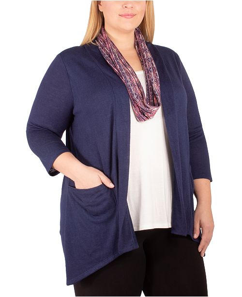 NY Collection Plus Size Sweater, Scarf & Tank Set