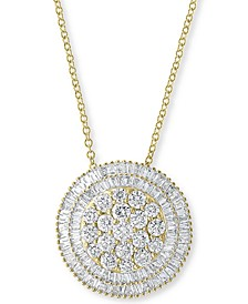 """EFFY® Diamond Cluster Halo 16"""" Pendant Necklace (1-5/8 ct. t.w.) in 14k Gold"""
