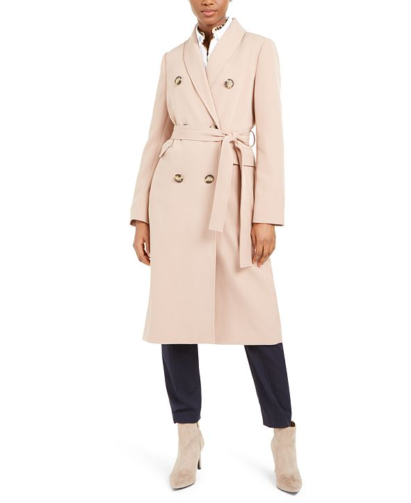 Calvin Klein Double-Breasted Belted Water-Resistant Trench Coat