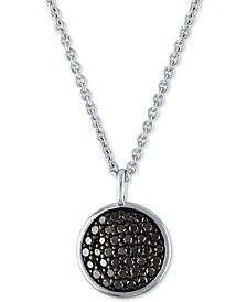 "Black Diamond Pavé Disc Pendant Necklace (3/8 ct. t.w.) in Sterling Silver, 15"" + 3"" extender"