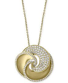 "EFFY® Diamond Pavé Swirl 18"" Pendant Necklace (1-3/8 ct. t.w.) in 14k Gold"