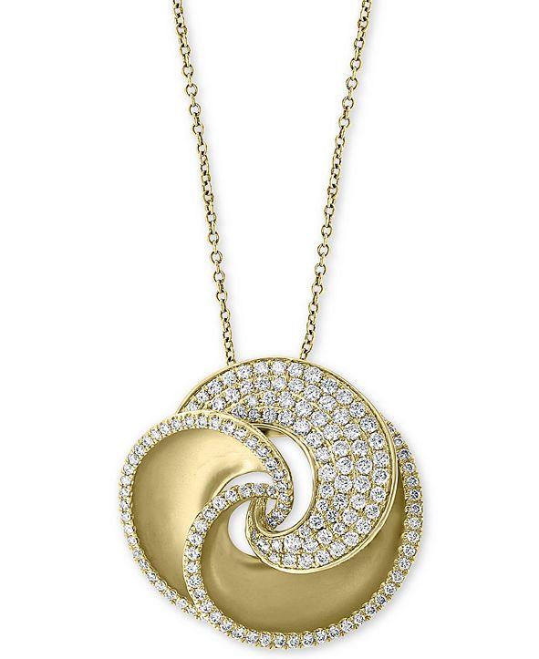 "EFFY Collection EFFY® Diamond Pavé Swirl 18"" Pendant Necklace (1-3/8 ct. t.w.) in 14k Gold"