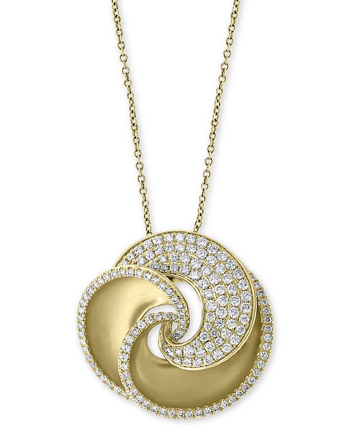 """EFFY Collection - Diamond Pavé Swirl 18"""" Pendant Necklace (1-3/8 ct. t.w.) in 14k Gold"""