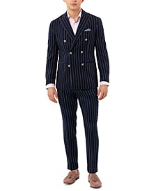 Men's Slim-Fit Double Breasted Striped Sport Coat