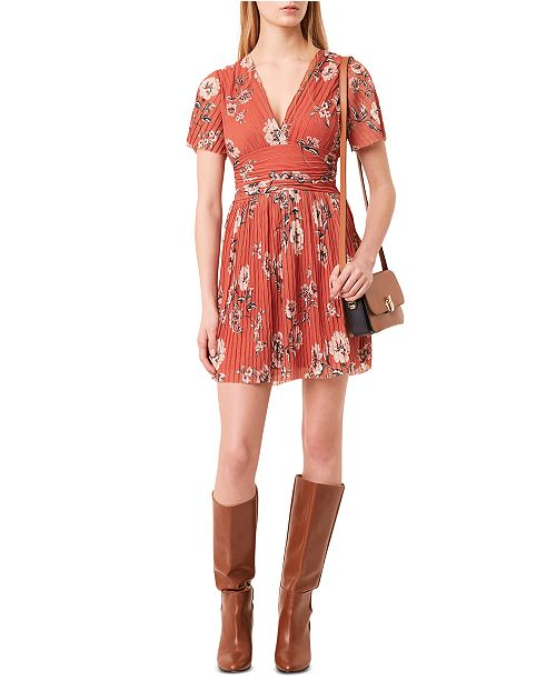 French Connection Floral-Print Pleated Dress