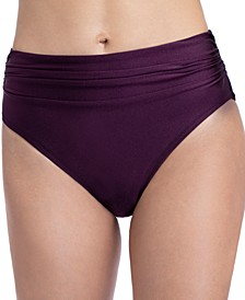 Satin Nights Ruched High-Waist Bikini Bottoms