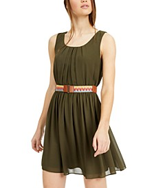 Juniors' Belted Fit & Flare Dress