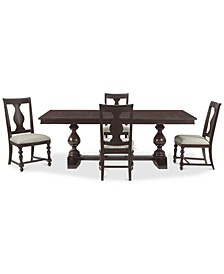 Rosemoor Rectangle Dining 5-Pc. Set, (Table & 4 Splat Back Side Chairs)