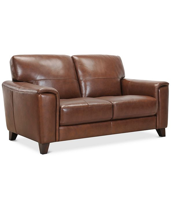 "Furniture Brayna 65"" Leather Loveseat, Created for Macy's"