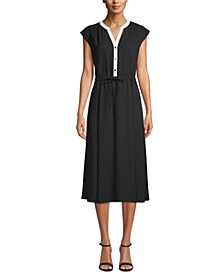 Cap-Sleeve Drawstring-Waist Dress