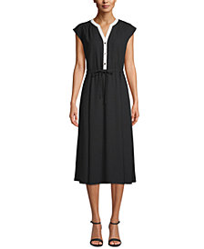 Anne Klein Cap-Sleeve Drawstring-Waist Dress