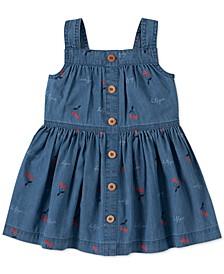 Toddler Girls Cotton Cherry-Print Denim Dress