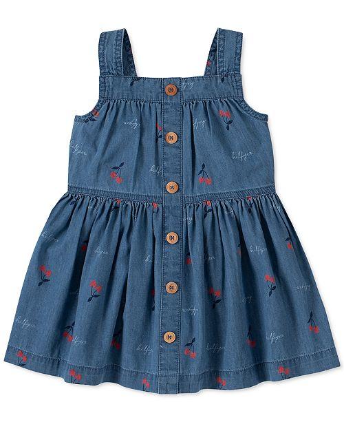 Tommy Hilfiger Little Girls Cotton Cherry-Print Denim Dress