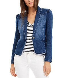 INC Puff-Sleeve Denim Blazer, Created for Macy's