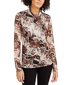 INC Printed Mock-Neck Top, Created for Macy's