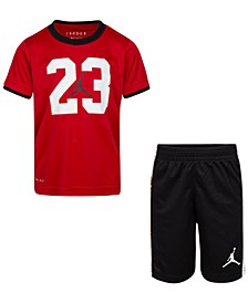 Little Boys 2-Pc. Dri-FIT 23 T-Shirt & Logo Shorts Set