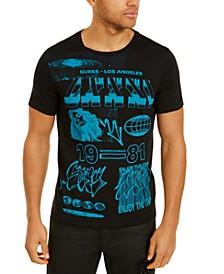Men's Pop Blue Graffiti Graphic T-Shirt