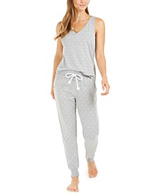 Dot-Print Sleep Tank Top & Jogger Pants Collection