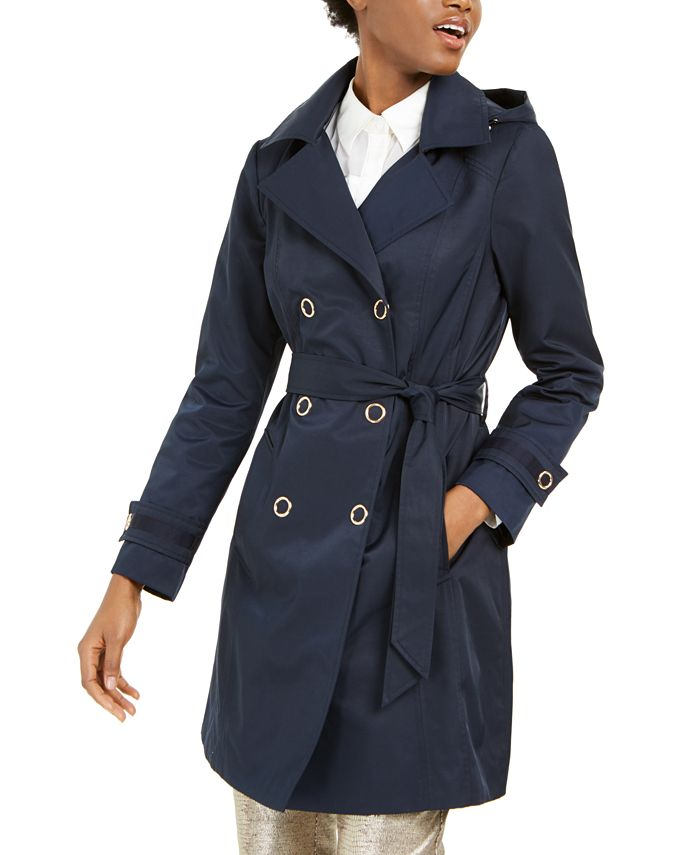 Anne Klein - Double-Breasted Hooded Trench Coat
