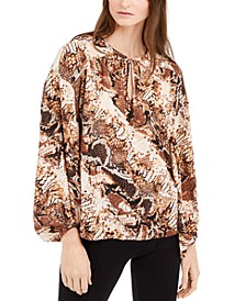 INC Snake-Print Peasant Top, Created for Macy's