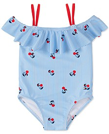 Baby Girls 1-Pc. Shoshanna Striped Cherry-Print Swimsuit
