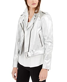 Crinkle Metallic Leather Moto Jacket