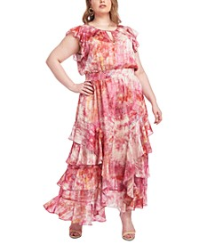 Plus Size Tie-Dyed Maxi Dress
