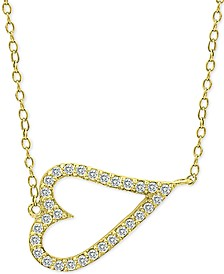 Cubic Zirconia Side Heart Pendant Necklace in 18k Gold-Plated Sterling Silver, Created for Macy's