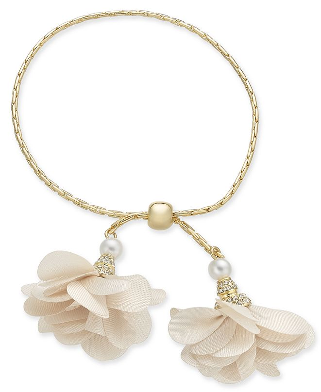 INC International Concepts INC Imitation Pearl & Fabric Flower Bolo Bracelet, Created for Macy's