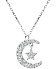 """Cubic Zirconia Crescent Moon & Star Pendant Necklace in Sterling Silver, 16"""" + 2"""" extender, Created for Macy's"""