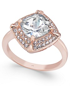 Rose Gold-Tone Square Stone & Crystal Pavé Ring, Created for Macy's