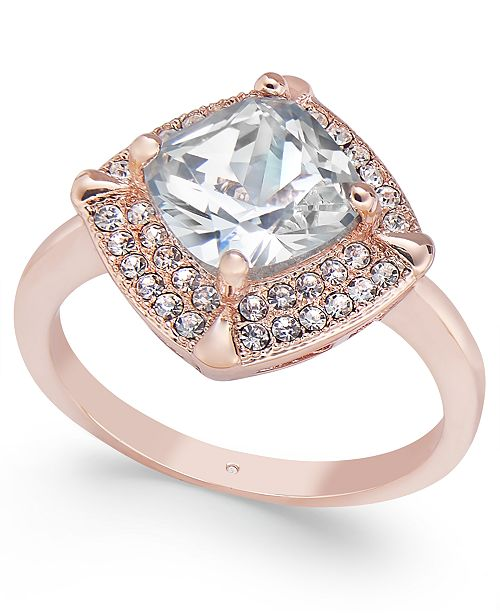 Charter Club Rose Gold-Tone Square Stone & Crystal Pavé Ring, Created for Macy's