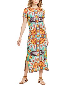 Printed Side-Vent Silk Maxi Dress