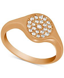 Crystal Pavé Disc Ring in Rose Gold-Plate